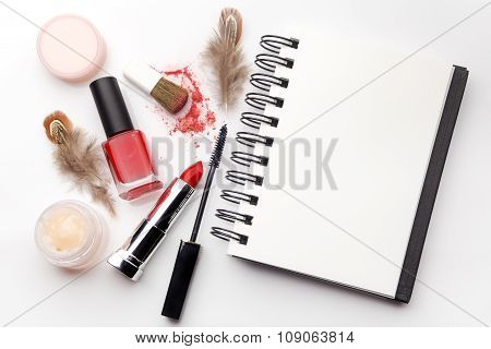 makeup cosmetics, on a white background