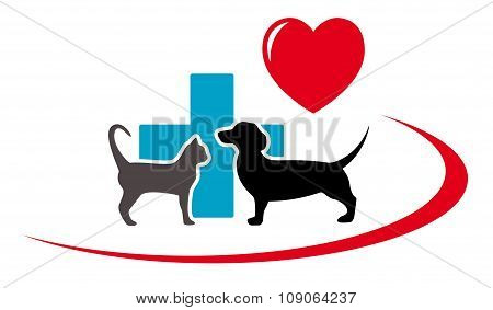 dachshund dog and cat on veterinary icon
