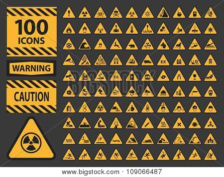 Vector icn set triangle yellow warning caution hazard signs.