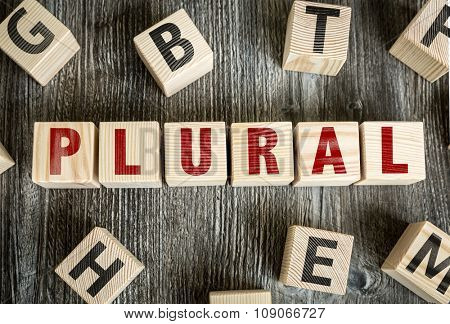 Wooden Blocks with the text: Plural