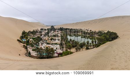 Oasis In The Huacachina Desert, Peru