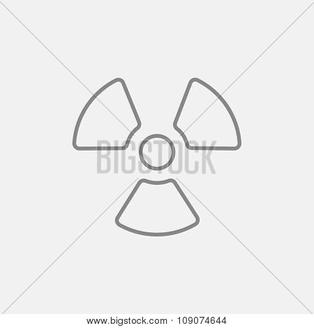 Ionizing radiation sign line icon for web, mobile and infographics. Vector dark grey icon isolated on light grey background.