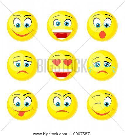 yellow smile icons isolated on white