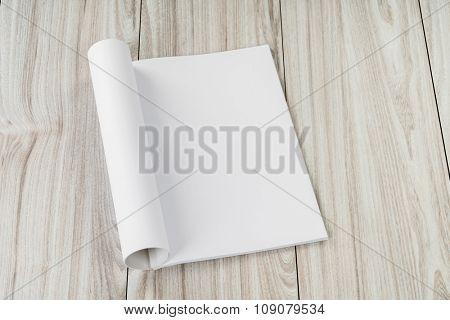 Blank catalog, magazines,book mock up on wood backgrou  ??nd