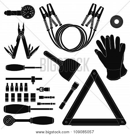 Road kit silhouettes set
