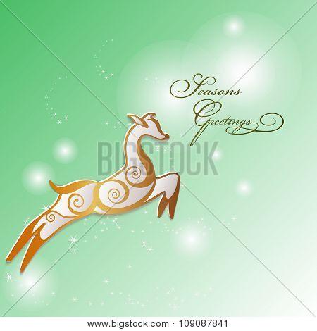 Reindeer Stylized In Golden Swirls.