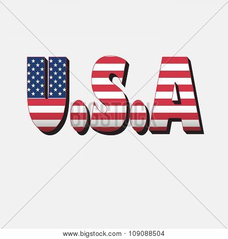 U.s.a Text In Flag Colors With Grunge Flag In Background.