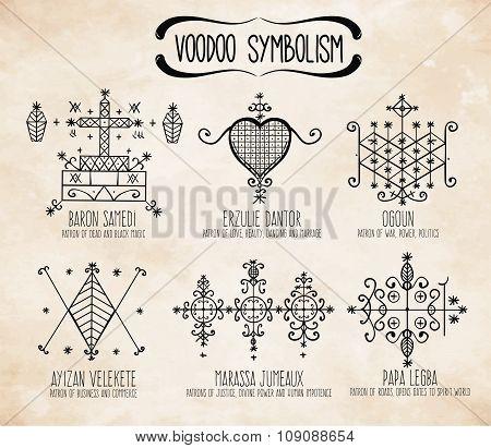 Voodoo spiritual dieties symbols set.