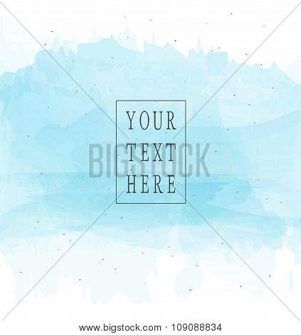 Vector Template With Isolated Watercolor Brush Strokes And Ink Spots. Blue Color