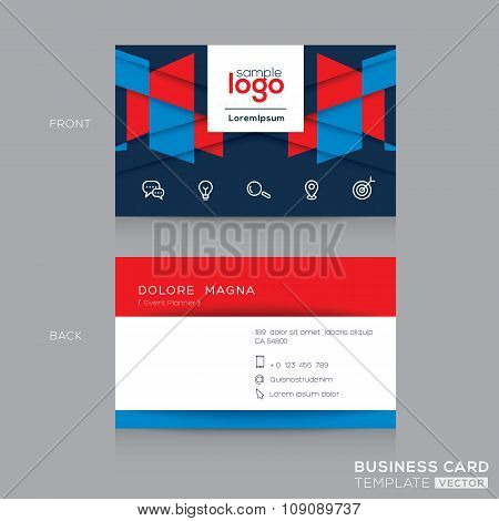 Abstract rectangle shape Business Card Design Template