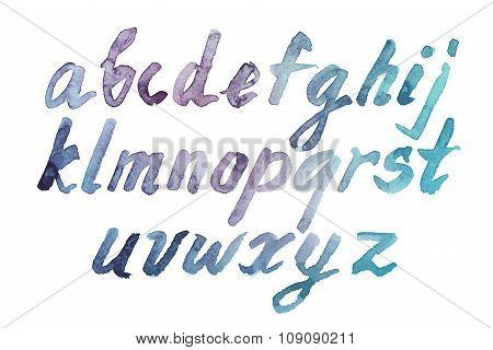 Colorful watercolor aquarelle font type handwritten hand drawn doodle abc alphabet  lowercase letters. poster