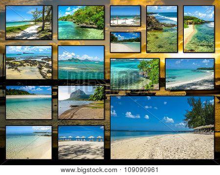 Mauritius beaches collage