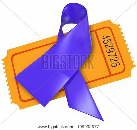Purple Alzheimers disease or cystic fibrosis ribbon on a ticket for a fund raising event or charity for awareness and research