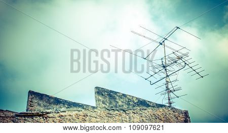 Concept for television industry, Old antenna with blue sky