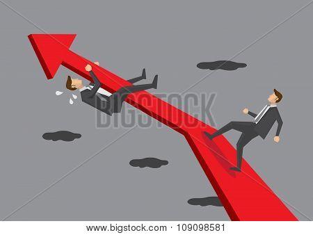 Businessmen On Graph Arrow Conceptual Vector Illustration