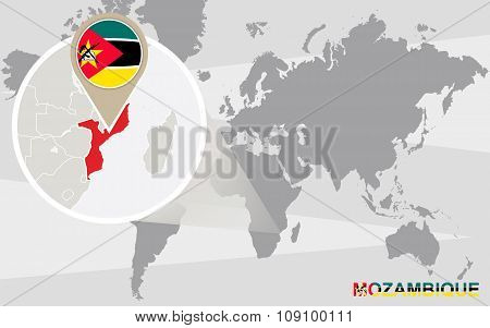 World Map With Magnified Mozambique