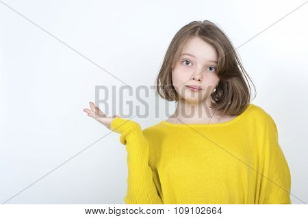 Ten-year Girl Showing Hand Side..