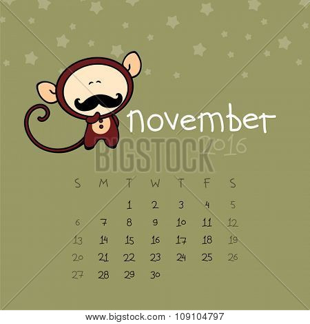 Calendar for the year 2016 - November