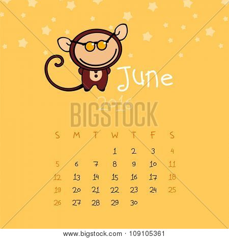 Calendar for the year 2016 - June