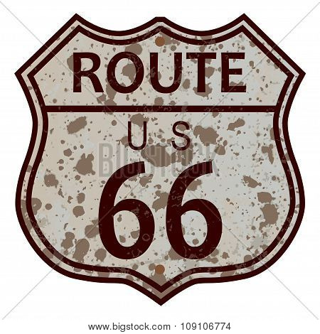 Weathered Route 66 Sign