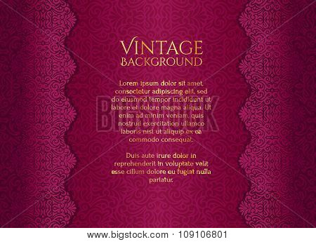 Luxury Pink Background With Damask Floral Pattern