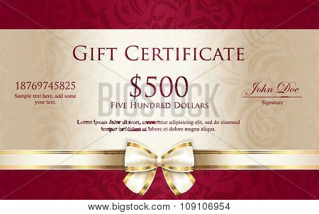 Vintage gift certificate with red and cream background