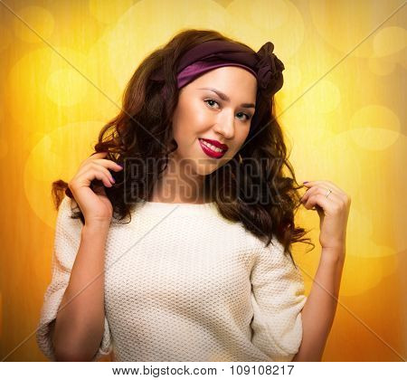 Dancing Woman Over Bright Orange Party Style Background.
