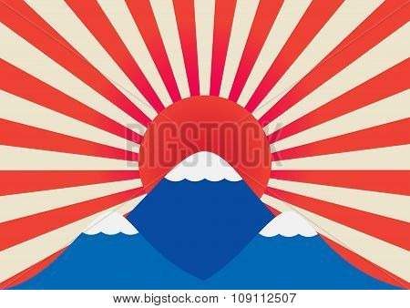 Winter Landscape Of Mountain With Snow Like Mt-fuji And Sun Rays Of Japan Flag In Background . Vecto