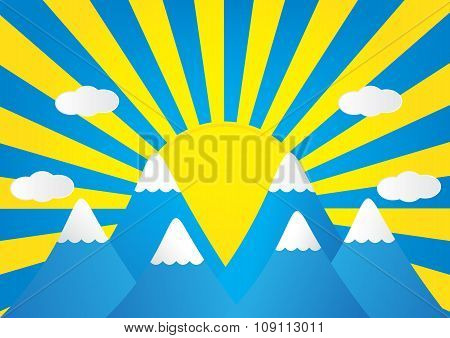 Winter Landscape Of Mountain With Snow And Sun Rays In Background. Vector Illustration.