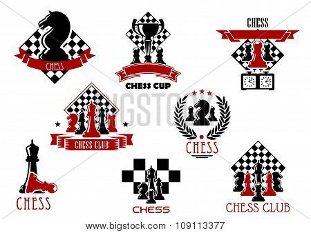 Chess game and sport club emblems or icons