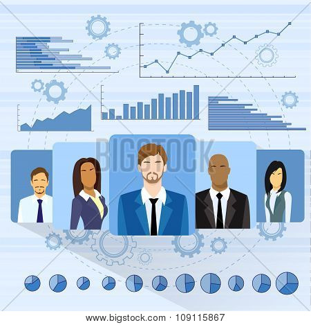 Business People Profile Icon Over Graph Set Finance Diagram Infographic Hand Draw Icon Sketch Financ