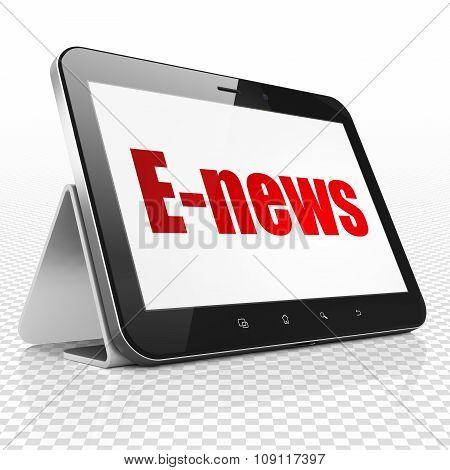 News concept: Tablet Computer with E-news on display