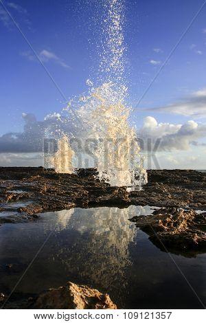Sea Water Jet On Cadiz Coastline Rocks, Spain