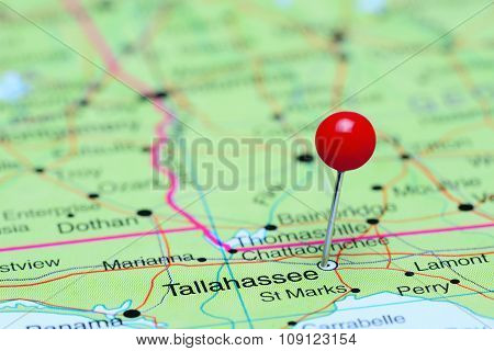 Tallahassee pinned on a map of USA