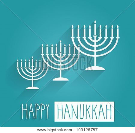 Happy Hanukkah blue poster. Handwritten text