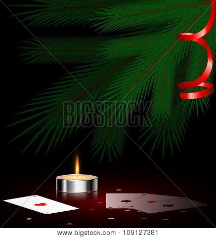tree, small candle and cards
