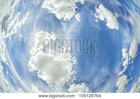 Fisheye Lens Picture Of Clouds On Blue Sky