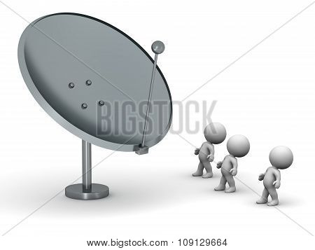3D Characters Looking At Large Antenna Dish