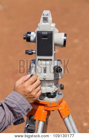 Hand Of Engineer Use Tacheometer Or Theodolite For Survey Line Columns