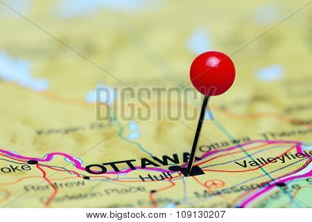 Ottawa pinned on a map of Canada