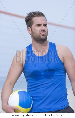 Beach Volley Male Player And Ball.