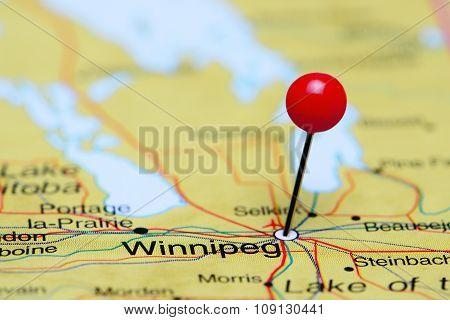 Winnipeg pinned on a map of Canada