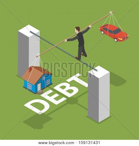 Debt isometric flat vector concept.