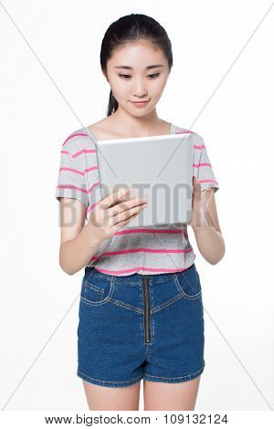Chinese Girl  With Tablet