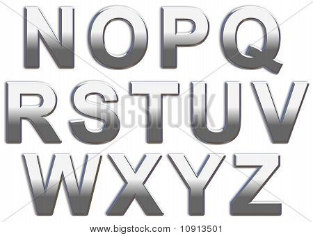 Chrome Capital Letters N-Z