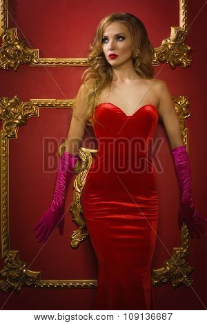Female Singer Red Dress