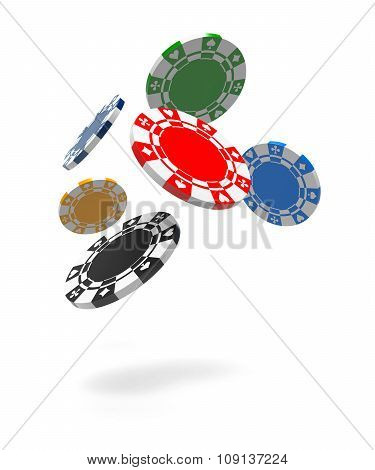 Flying Gambling Chips. Isolated White Background. 3D Rendering