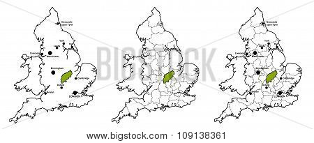 Northamptonshire located on map of England