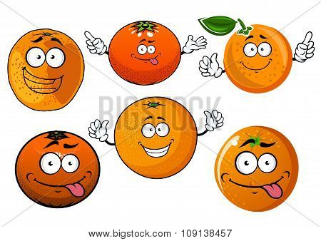 Cartoon ripe juicy orange fruits characters