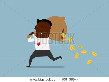 Cartoon businessman losing money from bag